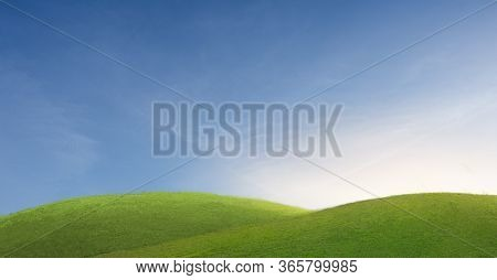 Green Mountain Under Blue Sky. Beauty Nature,for Good Environment.