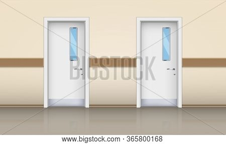 The Hospital Hall With Doors. Entrance Element From Medical Hall. Doctor Office Door With Window. Ve