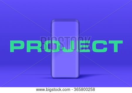 Smartphone Layout Presentation Mockup In Blue Color. Example Frameless Model Smartphone With Touchsc