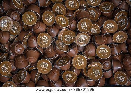Slany, Czech Republic - April 22, 2020: Nescafe Dolce Gusto Capsules Background