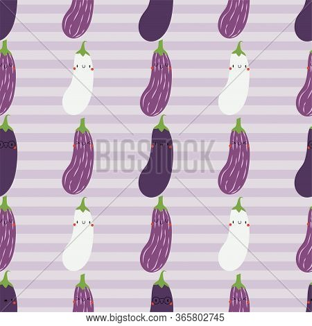 Kawaii Cartoon Aubergine. Colored Seamless Vector Patterns In Flat Style. Isolated Pattern For Noteb