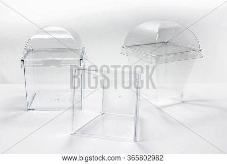 Clear Plastic Box On White Background,object And Ware