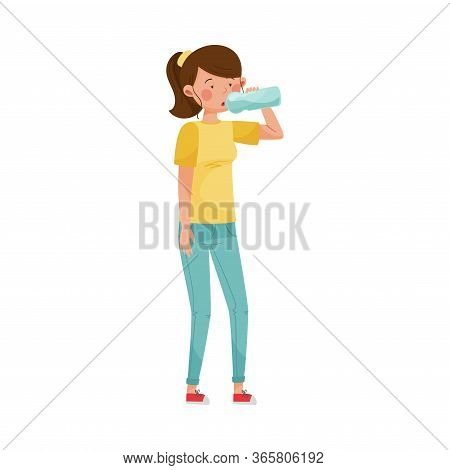 Female Character With Symptom Of Diabetes Such As Thirst Vector Illustration