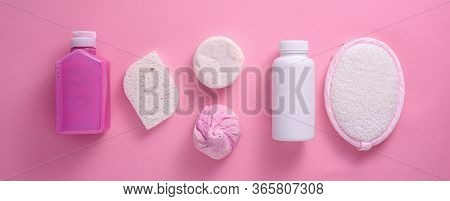 Shower Accessories, Gel, Washcloth, Sponge, Soap On Pink Background For Banner, Spa Day, Rest And Re