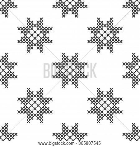Imitation Of Cross Stitch. Seamless Geometric Decorative Pattern. Black And White Background For Cov