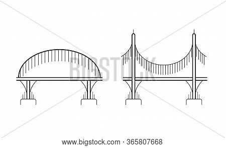 Set Of Various Contour Bridges On Columns. City Communications. The Intersection Of Rivers And Ravin