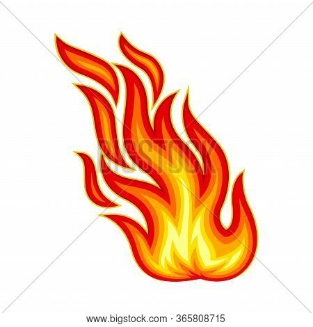 Flame Body With Bright Orange Blazing Tongues Vector Illustration