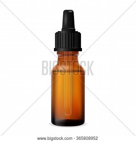 Essential Oil Bottle. Brown Dropper Cosmetic Vial. Organic Aromatherapy Essence Mock Up With Eyedrop