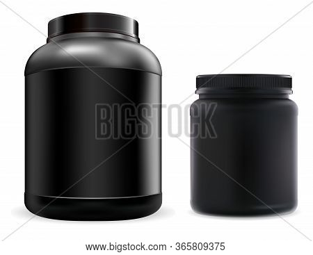 Protein Supplement Jar Mockup. Black Sport Food Powder Container. Fitness Nutrition Canister Design