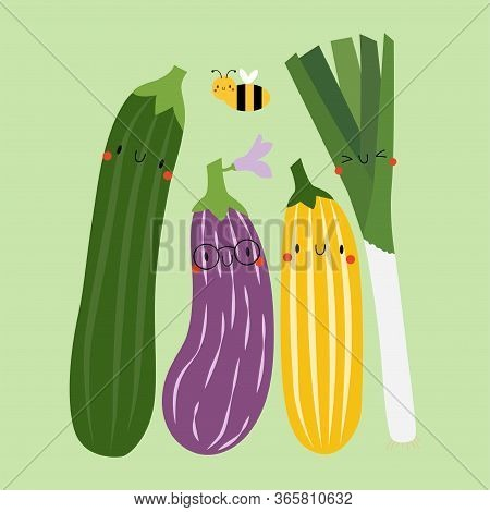 Kawaii Cartoon Aubergine, Zucchini And Leek.  Colored Vector Illustration Eps. Isolated Background