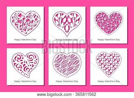 Set Of Square Greeting Cards With Carved Openwork Hearts With Floral And Geometric Patterns. Gift, I