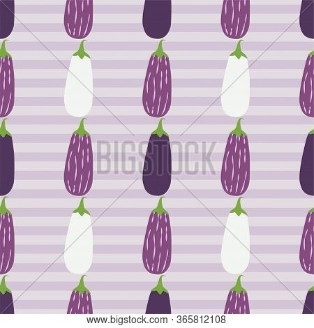 Cartoon Aubergine. Colored Seamless Vector Patterns In Flat Style. Isolated Pattern For Notebook, Te