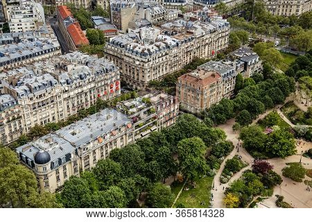 Paris, France - April 22, 2019: Top View From Eiffel Tower On Famous Champ De Mars, Historical Stree
