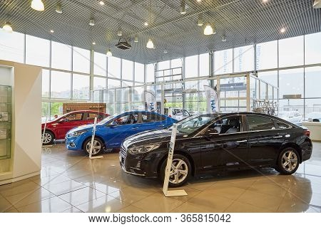 Murmansk, Russia - June 21, 2019: Cars In Showroom Of Dealership Hyundai In Murmansk