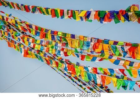 Sacred Prayer Flags At  Boudhanath Buddhist Stupa In Kathmandu.