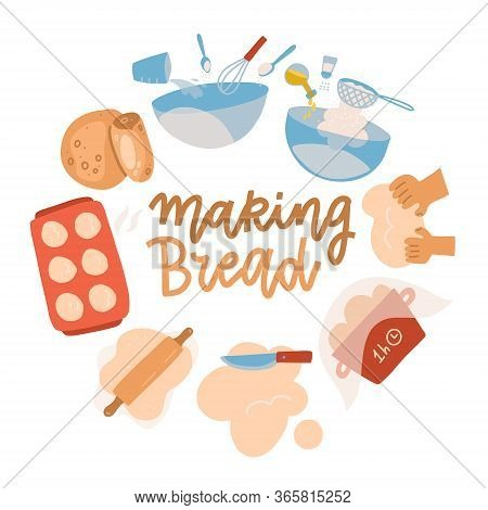 Baking Tools Set. Pastry Making Equipment And Ingredients. Bread Recipe With Wheat Flour, Rolling Pi