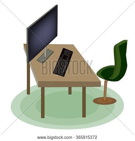 Empty Office And Home Workplace. Home Office Interior Workplace With Table, Chair, Computer Screen,