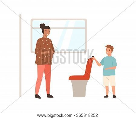 Smiling Well Mannered Boy Offering Seat In Public Transport To Pregnant Woman Vector Flat Illustrati