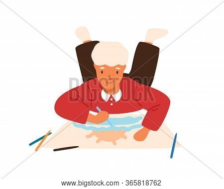 Smiling Child Drawing Picture Lying On Floor Vector Flat Illustration. Focused Male Kid Painting Pic