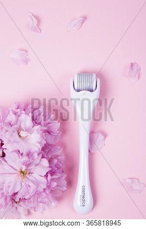May 2 - 2020 - Kyiv, Ukraine. Cosmedica Skincare. Microneedling Derma Roller. Dermaroller For Medica