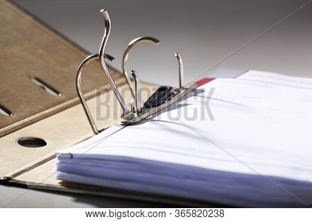 Selective Focus On An Opened Archive Ring Binder With Hardcover