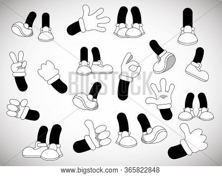 Set Of Vector Cartoon Hands And Cartoon Legs. Comic Legs In Shoes And Hands In White Gloves.