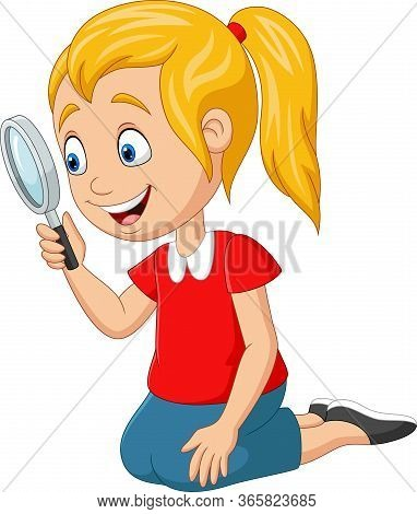 Vector Illustration Of Cute Girl Using A Magnifying Glass