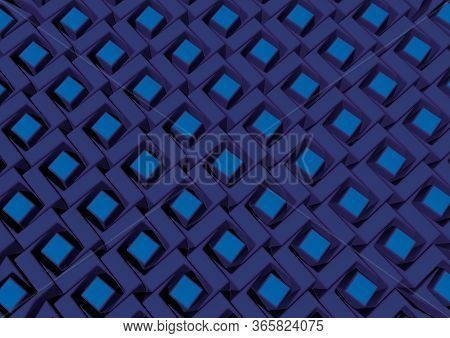 Abstract Blue Cubic Decorative Modern Pattern Of The Outer Wall For Background. 3d Rendering Illustr