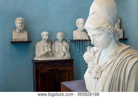 Rome, Italy - June 20, 2019:  Academy Of France, Villa Medici, The Room Of The Roman Busts