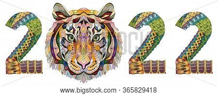 Zentangle Stylized Tiger Number 2022. Hand Drawn Lace Vector Illustration