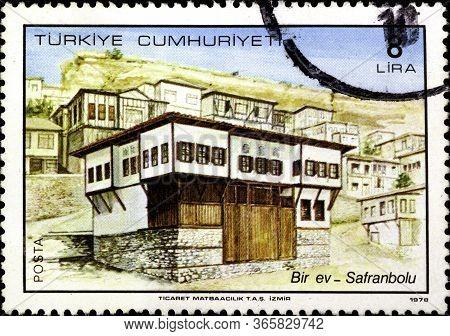 02 10 2020 Divnoe Stavropol Krai Russia Postage Stamp Turkey 1978 Traditional Turkish Houses A Home
