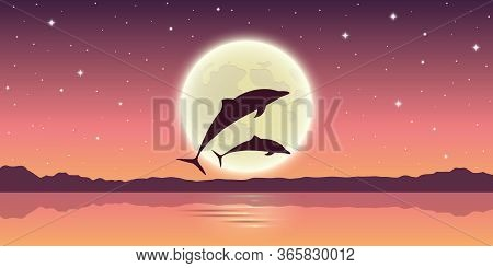 Two Dolphins Jump Out Of The Water In The Moonlight Vector Illustration Eps10
