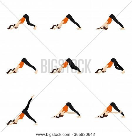 Illustration Stylized Woman Practicing Adho Mukha Svanasana
