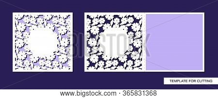 Greeting Card Folding In Half With A Pattern Of Flowers And Leaves. Summer Nature Theme. Place For T