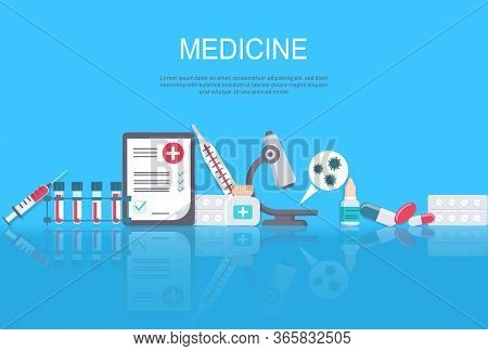 Pharmacy frame with pills, drugs, medical bottles. Drugstore vector flat illustration. Medicine and healthcare banner, poster background with copy space. Medicine. First aid kit, stethoscope, and syringe for injection with blue vaccine, vial of medicine,