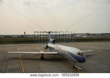 Budapest, Hungary, Circa 2020: View Of A Grounded Airplane From Hungarian Airline Malev (ma) At The