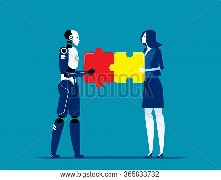 Artificial Intelligence And Human Connect Business Relations. Robot Vs Human
