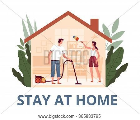 Young Man And Woman Stay At Home And Clean The House. A Variant Of Activity During Quarantine