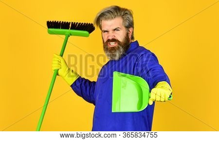 He Loves His Job. Janitor In Gloves. Husband Cleaning House. Housework And Domestic Duty. Male Janit
