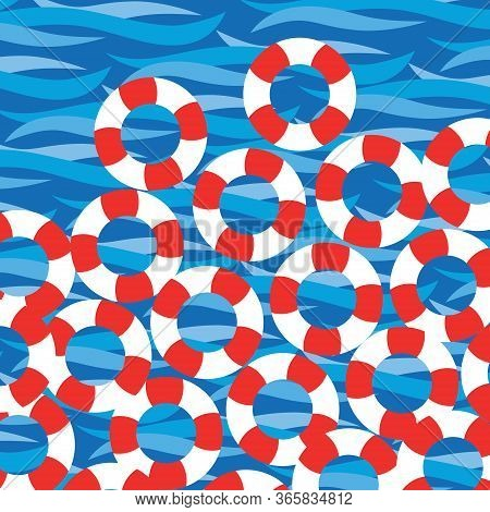 Scalable Vectorial Representing A Sea Wave Background With Water Rescue Ring Buoys, Colored Vector H