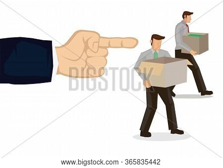 Employer Fired Employees. Mass Layoff Or Retrenchment Concept. Vector Illustration.