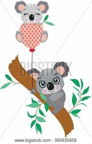 Scalable Vectorial Representing A Mum Koala Picking Eucalyptus Leaves And Baby Koala On Balloon, Ele