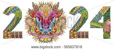 Zentangle Stylized Dragon Number 2024. Hand Drawn Lace Vector Illustration