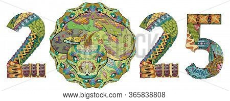Zentangle Stylized Snake Number 2025. Hand Drawn Lace Vector Illustration