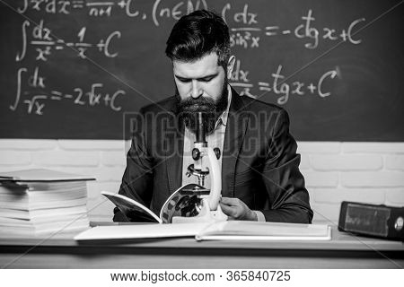 Scientist With Microscope Chalkboard Background. On Way To Success. Discovering Micro World. Scienti
