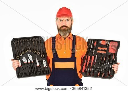 Handyman Concept. Professional Equipment. Custom Woodworkers. Set Of Tools. Screwdrivers Set. Man Ca