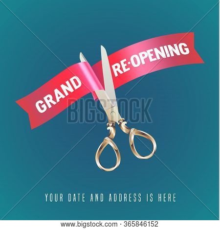 Grand Opening Or Re-opening Soon Vector Banner, Illustration