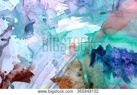 Blue, Green And Brawn Water Color Abstract Painting