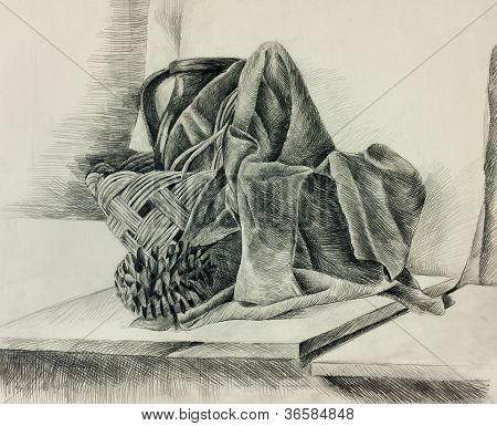Original b&w pencil still life sketch showing wicker-basketpiece of clothcone and pitcher or jug poster
