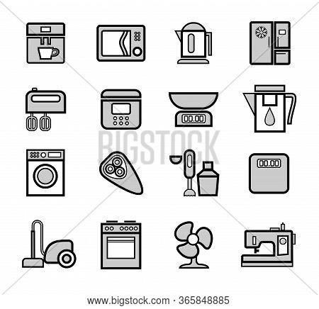 Kitchen Appliances, Icons, Set, Outline, Gray. Home Electrical Appliances. Grey Flat Icons With A Bl